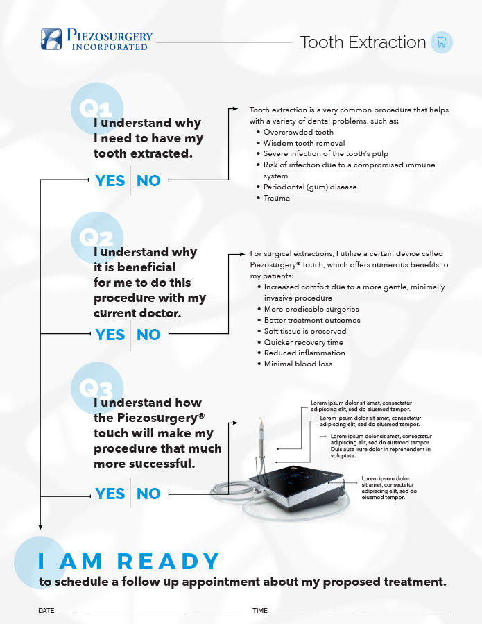 PIEZO surgery Tooth Extraction Infographic